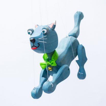 Handgemachte Marionette aus Holz und Filz - süße blaue Katze springend