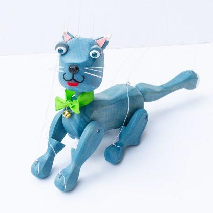 Handgemachte Marionette aus Holz und Filz - süße blaue Katze sitzt