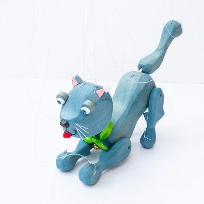 Handgemachte Marionette aus Holz und Filz - süße blaue Katze will spielen