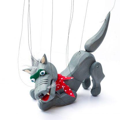 Handgemachte Marionette aus Holz und Filz - böser aber nieldicher grauer Wolf spielend