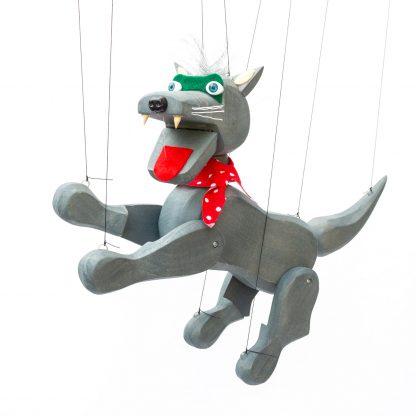 Handgemachte Marionette aus Holz und Filz - böser aber nieldicher grauer Wolf springend
