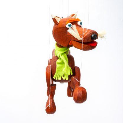 Handgemachte Marionette aus Holz und Filz - brauner süßer Hund mit grünem Schal von vorne