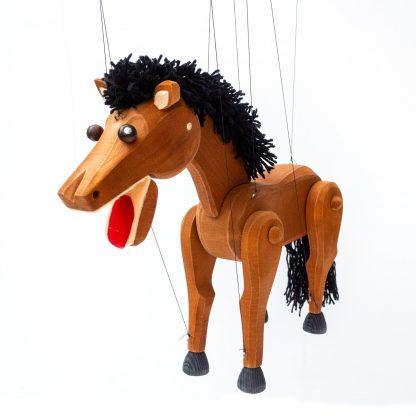 Handgemachte Marionette aus Holz und Filz - braunes stattliches Pferd Hengst von vorne seitlich