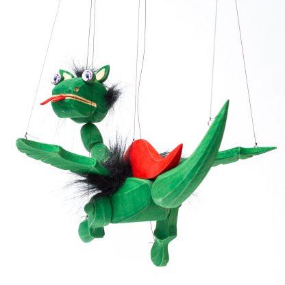 Handgemachte Marionette aus Holz und Filz - süßer grüner Drache mit lila Energie Augen von hinten