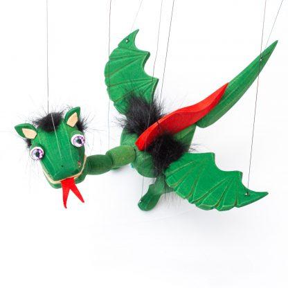 Handgemachte Marionette aus Holz und Filz - süßer grüner Drache mit lila Energie Augen von oben seitlich