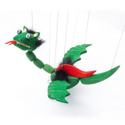 Handgemachte Marionette aus Holz und Filz - süßer grüner Drache mit lila Energie Augen von der Seite