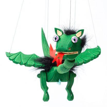 Handgemachte Marionette aus Holz und Filz - süßer grüner Drache mit lila Energie Augen von vorne