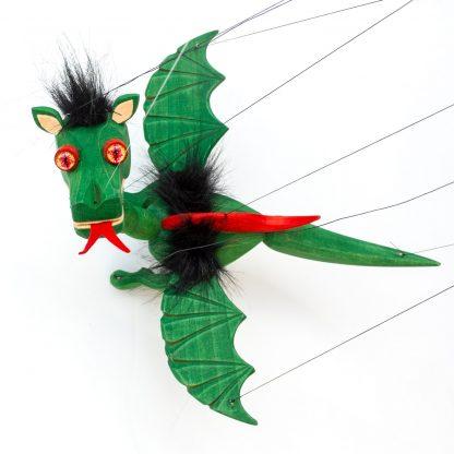 Handgemachte Marionette aus Holz und Filz - süßer grüner Drache mit Feuer Augen von oben