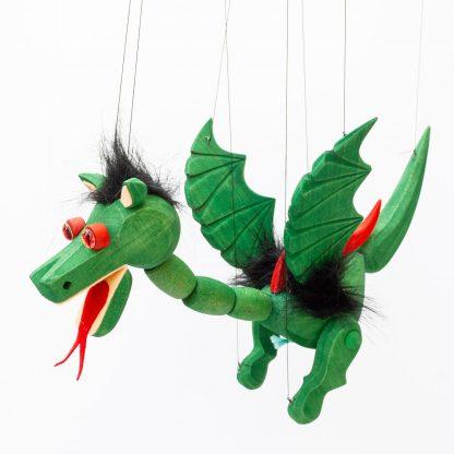 Handgemachte Marionette aus Holz und Filz - süßer grüner Drache mit Feuer Augen seitlich fliegend