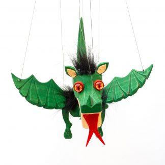 Handgemachte Marionette aus Holz und Filz - süßer grüner Drache mit Feuer Augen von vorne