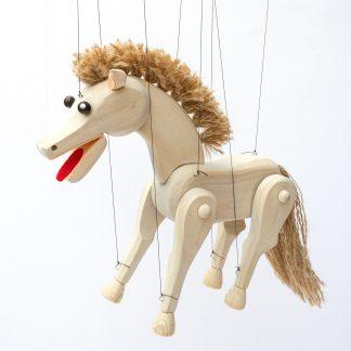 Handgemachte Marionette aus Holz und Filz - weißer Schimmel Pferd stehend