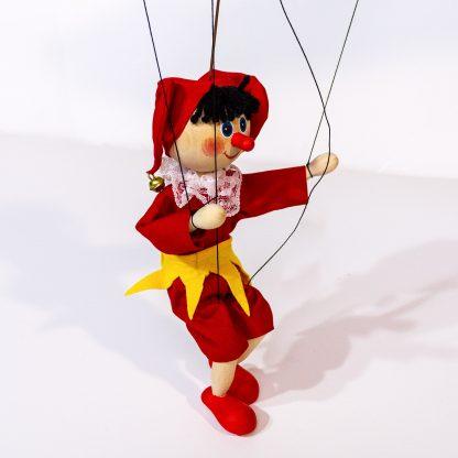 Kasperle Kasper Marionette aus Holz handgemacht tanzt seitlich
