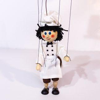 Koch Marionette handgemacht aus Holz steht grade von vorne